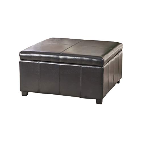 Christopher Knight Home 339626 Living Berkeley Brown Leather Square Storage Ottoman, Espresso