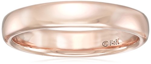 Modern Comfort-Fit 14k Rose Gold Wedding Band, 3.5mm