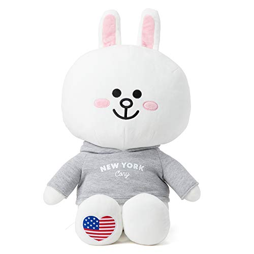 LINE FRIENDS Plush Figure - New York CONY Character Cute Soft Sitting Stuffed Doll, 16 Inches
