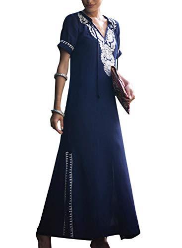 Women's Colorful Cotton Embroidered Turkish Kaftans Beachwear Bikini Cover up Dress (C-Multicolor Navy -
