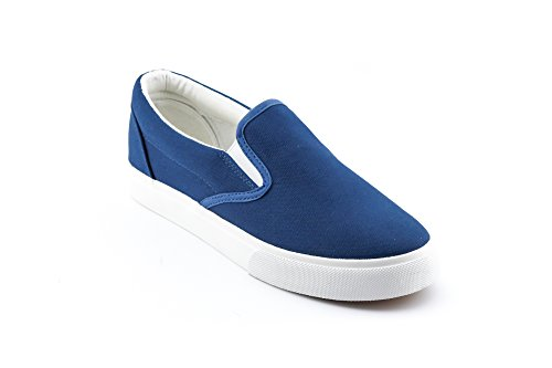 CALICO KIKI Women's Flats Slip-On Canvas Sneakers - Cushioned Soft Comfort Flat Shoes Navy