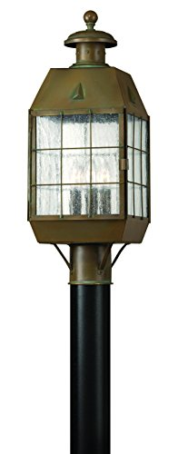 Hinkley 2371AS Restoration Three Light Post Top/ Pier Mount from Nantucket collection in Brassfinish,