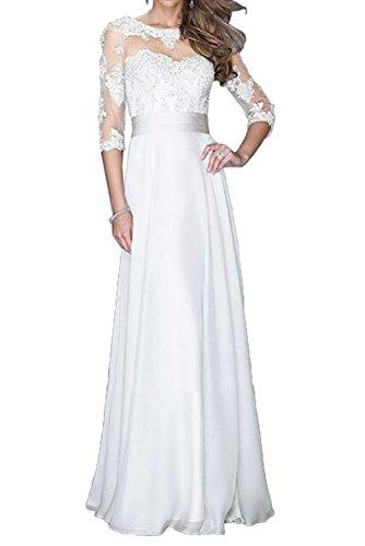 Spitze Formalkleider Lang Langarm Abendkleider Brautmutterkleider Festlichkleider Hochzeits La Braut Chiffon Fuer mia Weiß fgExvwqnR