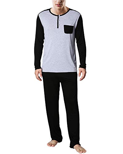 Men Cotton Pajama Set Classic Button Down Long Sleeve Tops & Pant Soft Nightwear Lounge Black