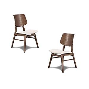 New Classic Furniture Mid-Century Modern Oscar Wooden Back Chair, Set of 2, Walnut