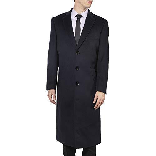 Enzo Tovare Men's 54805 Overcoat Single Breasted Luxury Wool/Cashmere Full Length Topcoat- Navy - 40 Regular