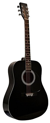 "41"" Inch Full Size Black Handcrafted Steel String Dreadnought Acoustic Guitar & DirectlyCheap(TM) Translucent Blue Medium Guitar Pick (PRO-1 Series) - Image 1"