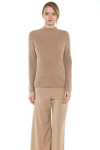 JENNIE LIU Women's 100% Pure Cashmere Long Sleeve Chuncky Rib Funnel Neck Sweater(S, ()