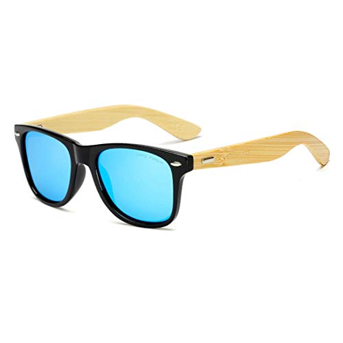 Polarized Bamboo Wood Arms Sunglasses Vintage Unisex Driving Fishing Glasses by Long Keeper (Black, Blue) (Arms Mens Sunglasses)