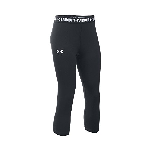 Under Armour Girls' HeatGear Armour Solid Capri, Black/White, Youth Small