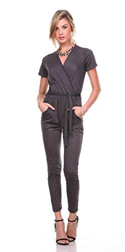Stanzino® Women's V neck Short Sleeve Elastic Waist Jumpsuit