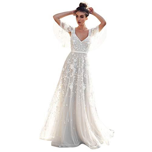 Pandaie-Womens Dresses, Women V-Neck Off Shoulder Lace Formal Evening Party Wedding Dress Long Sleeve Dresses White