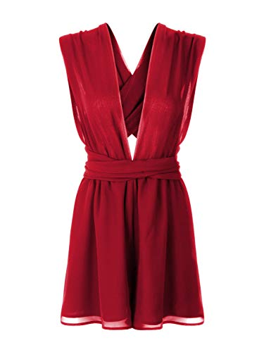 (Women's Sexy Chiffon Backless Rompers Red V Neck Straps Beach Romper Playsuit L)