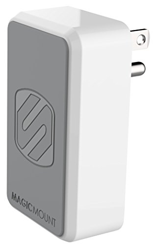 SCOSCHE MH121 12W Single USB Port Wall Charger for ALL USB Devices with Universal Magnetic Phone/GPS/Tablet MagicMount - White