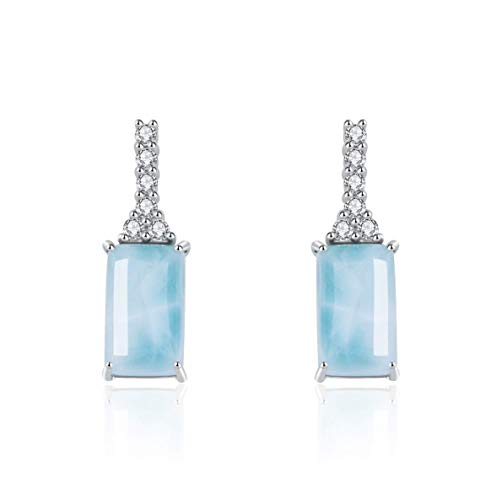 925 Sterling Silver Larimar Earrings14K White Gold Plated Women Jewelry Natural Gemstone Drop Earrings for Women and Girl (rectangle) ()