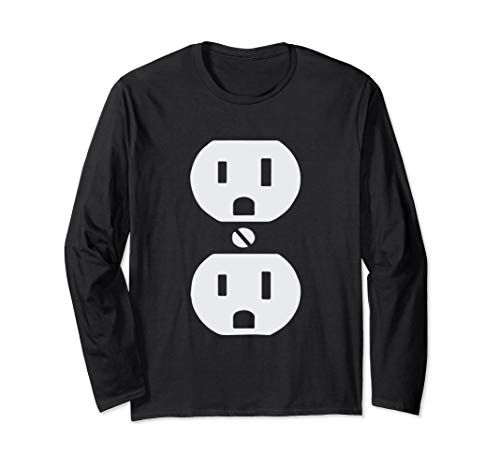 Plug and Socket Couples Halloween Costume Long Sleeve Shirt ()