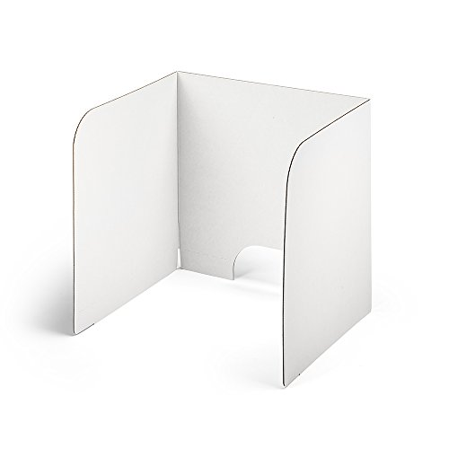 Classroom Products Privacy Shield 20 Inch Tall Laptop Carrel - White - (Pack of (Corrugated Study Carrel)