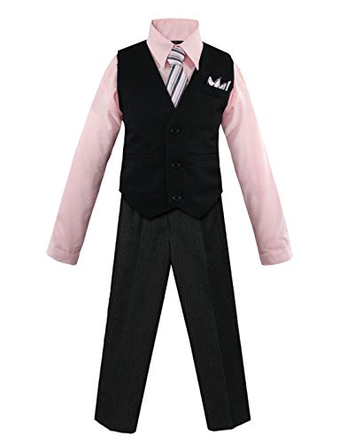 Pink Pinstripe Suit - Luca Gabriel Toddler Boys' 4 Piece Pinstripe Vest Shirt Tie Pant and Hanky Set Pink - 14