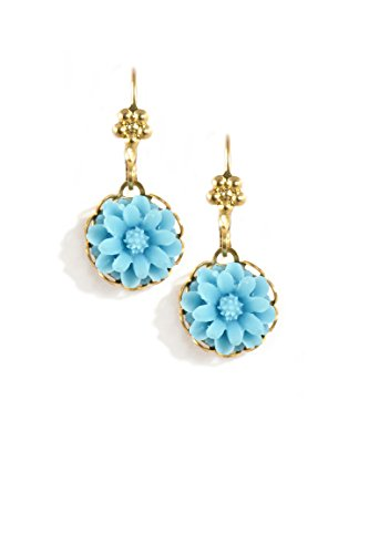 Clara Beau Small Turquoise colored Resin Flower Goldtone Earrings EC382 G-Trq]()