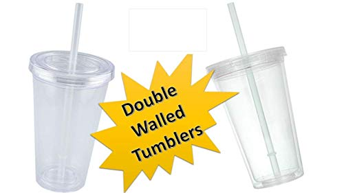 - TopNotch Outlet Plastic Cups - Tumbler (2 Pc) 16-oz Double-Wall Clear Plastic Tumblers - Drinking Glasses - Tumblers with Lids and Straws