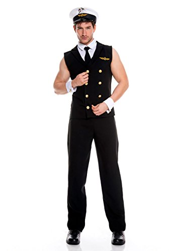 Music Legs Men's Airline Pilot, Black, (Male Sexy Halloween Costumes)