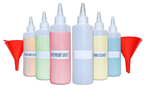 Plastic Condiment Squeeze Squirt Bottles for Sauces with Leak-Proof Cap (6-pack) with Writable Exterior and Funnels | Ideal for Ketchup, Liquids, Paint, Workshop and Pancake Art (8 ()