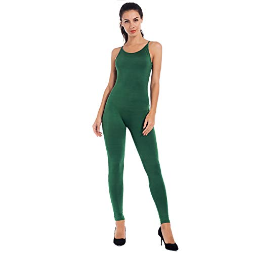 MANCYFIT Catsuits for Women Sexy Sleeveless Long Bodysuit Bodycon Jumpsuit Outfits Army Green X-Large ()