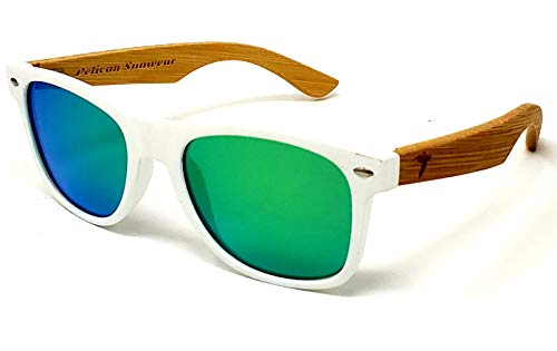 Wooden Polarized Sunglasses - Handmade Real Bamboo Wood Arms Wayfarer Style by Pelican Sunwear (White Frame, -