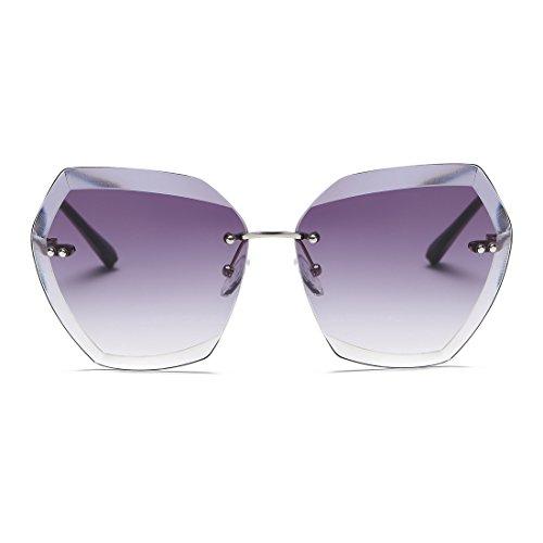 c4752bd49e8023 kimorn Lunettes de soleil pour femmes Lentilles de découpe diamantées Non-cerclées  classiques AE0534 (Argent Gris, 65)  Amazon.fr  Vêtements et accessoires
