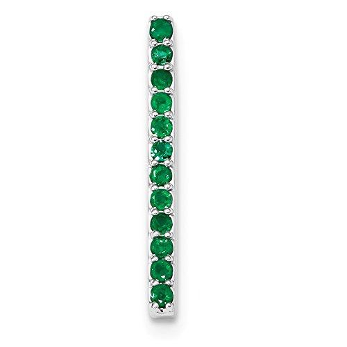 3mm 14k White Gold Emerald Chain Slide by JewelryWeb