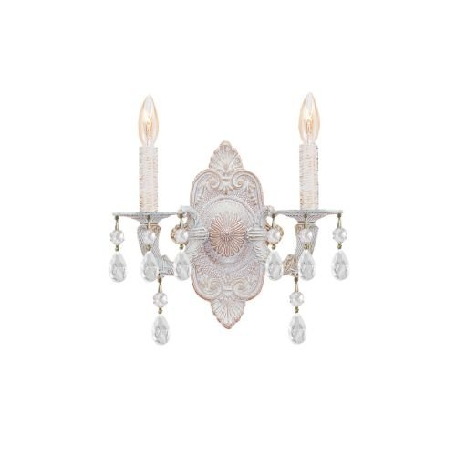 Crystorama 5022-AW-CL-MWP Crystal Accents Two Light Sconces from Sutton collection in Whitefinish, 5.50 inches