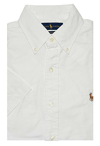 Ralph Lauren Men Slim Fit Oxford Button-Down Shirt (L, White)