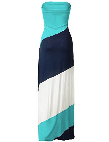 Striped Strapless Diagonal Color Block Maxi Dresses, 045-Mint White, Small