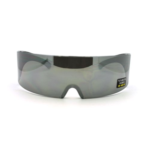 Futuristic Outter Space Monolens Cyclops Warp Around Mirror Novelty - Sunglasses Space Around Wrap