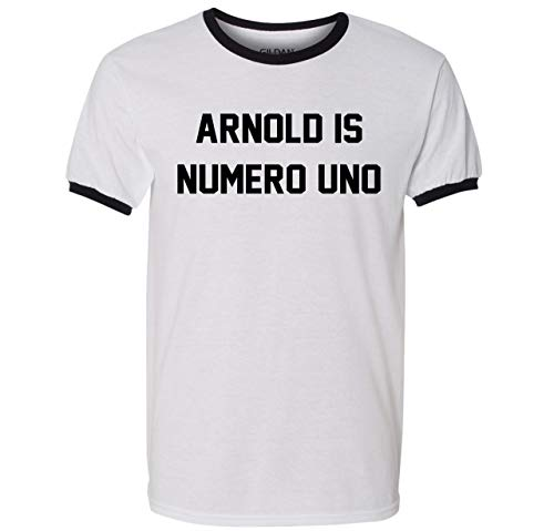 Arnold is Numero Uno T Shirt Pumping Iron Movie Bodybuilding Muscle Gym Workout Ringer Tee (Large) Arnold Is Numero Uno T-shirt