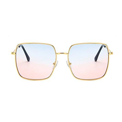 Decoración Moda Gran Red de Color Lift Sol Caja Face Blue Corea Resina Metal Gafas Retro Gafas Plaza de Poligonal Pink 0HfOw0qz