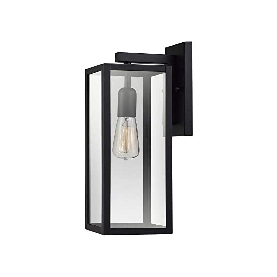 "Globe Electric 44176 Bowery 1-Light Outdoor Indoor Wall Sconce, Matte Black, Clear Glass Shade, 16"" - VERSATILE: with its classic black finish the Hurley wall sconce complements any d?cor making it the ideal piece for all your outdoor lighting needs CLEAR GLASS PANES: the clear glass panes of the Hurley Wall Sconce showcase your bulb of choice to create a beautiful light outside your home WEATHER RESISTANT: ideal for any outdoor environment - completely weather resistant and constructed of sturdy metal to withstand the elements - patio, outdoor-lights, outdoor-decor - 31tcF1nyl9L. SS570  -"