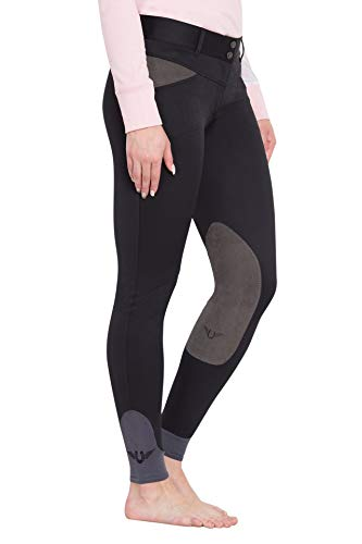 TuffRider Women's Sydney Knee Patch Breeches with Contoured Sock Bottom, Black, 28