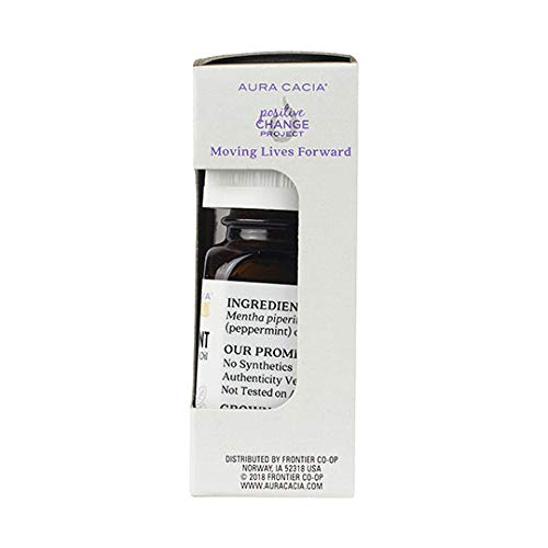 Aura Cacia Discover Essential Oil- Peppermint | Cooling Benefit with Minty, Fresh Aroma | 0.25 fl oz.
