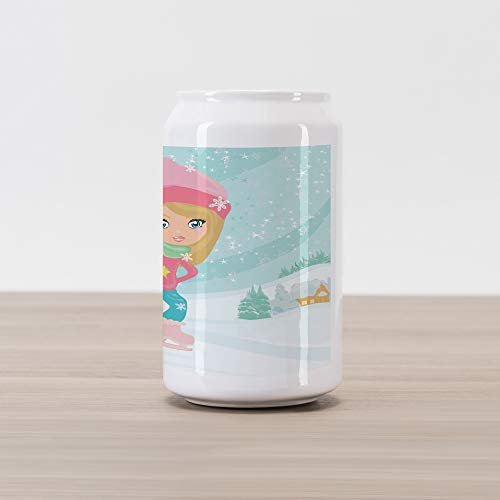 - Ambesonne Sports Cola Can Shape Piggy Bank, Little Girl Skating on Ice in Idyllic Snow Covered Village Playroom Theme, Ceramic Cola Shaped Coin Box Money Bank for Cash Saving, Multicolor