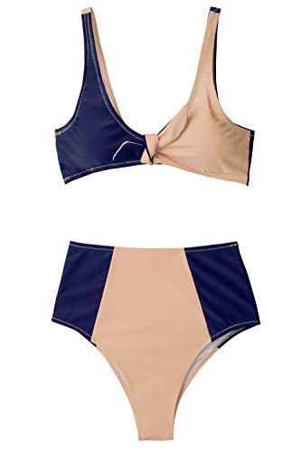 CUPSHE Women's Lost in The Dream High-Waisted Bikini Set Beach Swimwear Bathing Suit (XL) Blue Pink