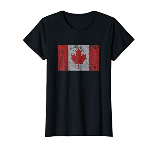 Womens Canadian Flag Maple Leaf Canada Toronto Montreal T Shirt Small Black