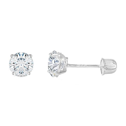 Ioka - 14K White Gold Round Solitaire Cubic Zirconia CZ Stud Screw Back Earrings - 0.5ct (5mm) - 14k White Gold 1/2 Carat