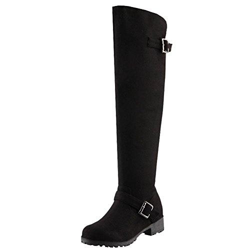 Charm Foot Womens Comfort Winter Zipper Low Heel Knee High Buckle Boots Black