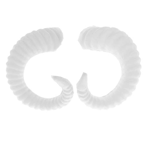 Fityle 1 Pair White Simulation Sheep Horns, Cosplay Costume Accessory DIY Hair Headband, 8 x 7.5 cm