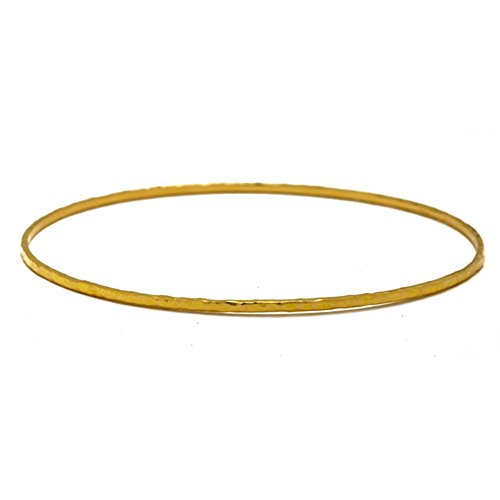 - 18k Yellow Solid Gold 1.5mm Slip-On Textured Finish Bangle Bracelet
