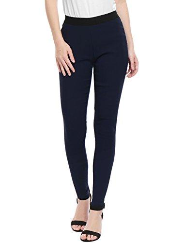 Allegra K Mujeres cintura alta cintura elástica de contraste tirar Jegging Blue