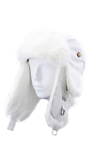 Rabbit Fur Aviator Trapper (FUR WINTER Taslon Rabbit Fur Aviator Trapper Hat WHI M/L)