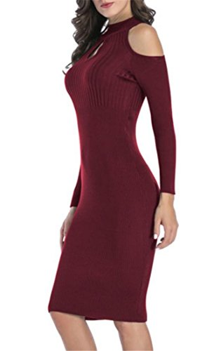 Keyhole Cut Dress Womens Bodycon Turtle Knitted Sleeve Red Out Shoulder Mid Slim Long Wine Neck Stretch Cromoncent SAFqB