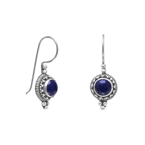 Lapis French Wire Earrings (925 Sterling Silver Round Lapis Bead/Rope Edge Earrings on French Wire)